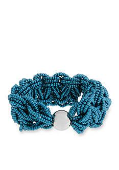 Erica Lyons Silver Tone Seed Bead Multi Braided Stretch Bracelet