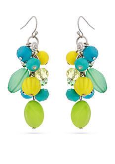 Erica Lyons Silver-Tone Lime A Rita Drop Cluster Pierced Earrings