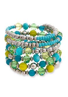 Erica Lyons Silver Tone Lime A Rita Beaded Coil Bracelet