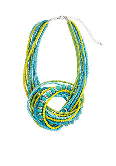 Erica Lyons Silver Tone Lime A Rita Knot Front Short Seed Bead Necklace