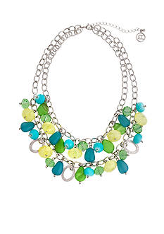 Erica Lyons Silver Tone Lime A Rita Shaky Bead Front Necklace