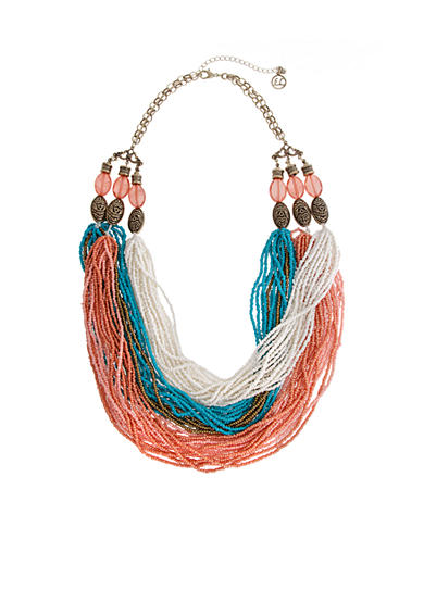 Erica Lyons Gold Tone Cool Coral Multi Strand Seed Bead Statement Necklace