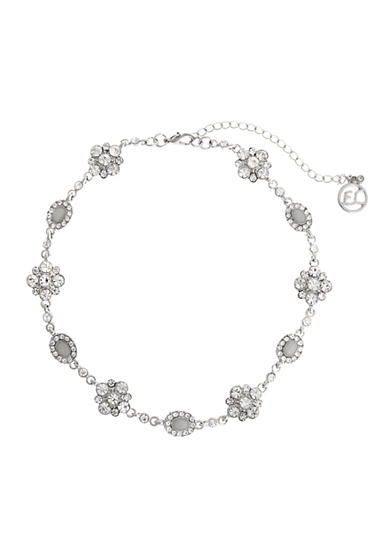 Erica Lyons Silver-Tone Choker Stone Flowers Necklace