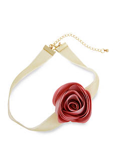 Erica Lyons Gold Tone Choker Fabric Flower Necklace