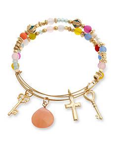 Erica Lyons Gold-Tone Key and Cross Charm Bangle Bracelet Boxed Set