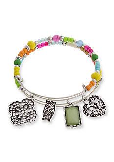 Erica Lyons Silver-Tone Charm Bangle Bracelet Boxed Set