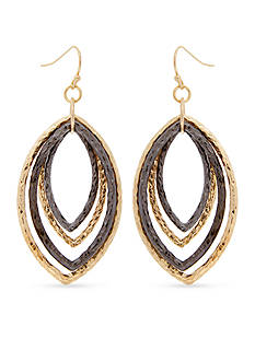 Erica Lyons Tri-Tone Hammer Time Layered Ring Drop Earrings
