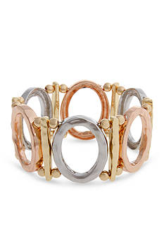 Erica Lyons Tri-Tone A Tribe Called Fashion Oval Stretch Bracelet