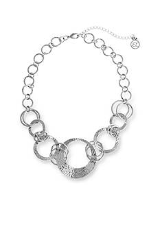 Erica Lyons Silver-Tone Catch A Wave Collar Necklace