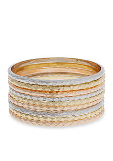 Erica Lyons Tri-Tone Catch A Wave 9-Piece Bangle Bracelet Set