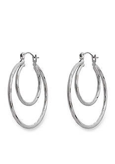 Erica Lyons Silver-Tone Catch A Wave Hoop Earrings