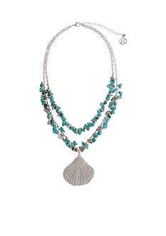 Erica Lyons Silver-Tone Sea Life Seashell Pendant Necklace