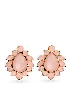 Erica Lyons Gold-Tone Making Me Blush Button Clip Earrings