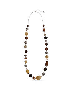 Erica Lyons Silver-Tone Put It In Neutral Long Strand Necklace