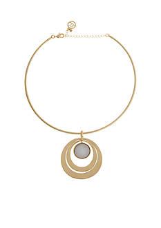 Erica Lyons Gold-Tone Rings Pendant Choker Necklace