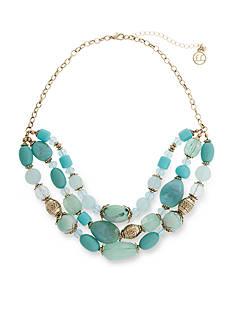 Erica Lyons Gold-Tone Aqua Triple Row Beaded Necklace