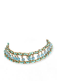 Erica Lyons Gold-Tone Aqua Beaded Choker Necklace