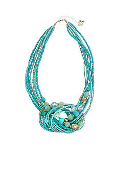 Erica Lyons Gold-Tone Aqua Knot Front Multistrand Necklace