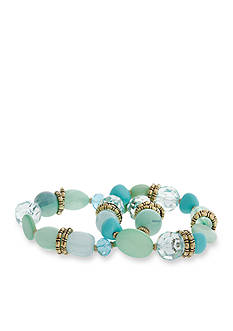 Erica Lyons Gold-Tone Aqua 2-Piece Stretch Bracelet Set