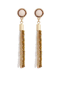 Erica Lyons Gold Tone Natural Flirt Tassel Pierced Earrings