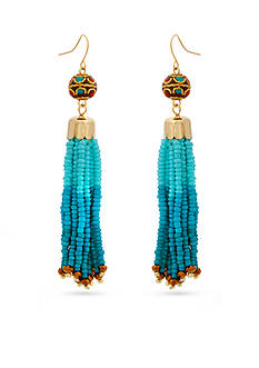Erica Lyons Gold-Tone Blue Ombre Tassel Drop Earrings