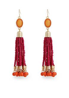 Erica Lyons Gold-Tone Fuchsia Tassel Drop Earrings