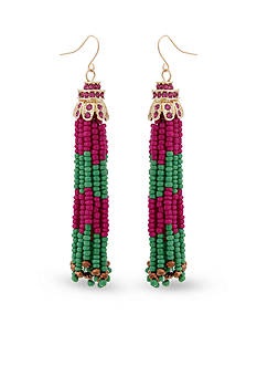 Erica Lyons Gold-Tone Fuchsia Green Tassel Drop Earrings