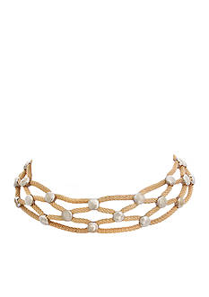 Erica Lyons Two-Tone Woven Choker Necklace