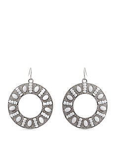 Erica Lyons Silver-Tone In A White Room Ring Drop Earrings