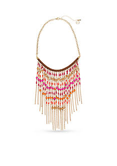 Erica Lyons Gold-Tone Rock The Casbah Fringe Statement Necklace