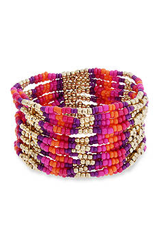 Erica Lyons Gold-Tone Rock The Casbah Multi Row Stretch Bracelet