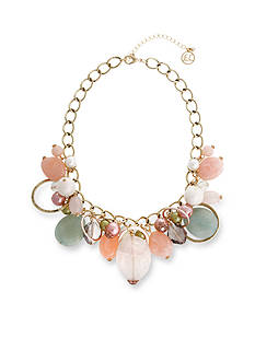 Erica Lyons Gold-Tone Making Me Blush Beaded Collar Necklace