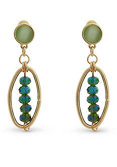 Erica Lyons Gold-Tone Mid Summer Night Green Drop Earrings