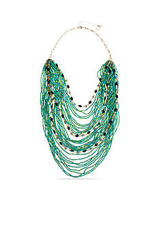 Erica Lyons Gold-Tone Mid Summer Night Green Multi-Strand Necklace