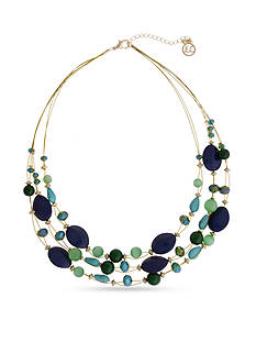 Erica Lyons Gold-Tone Mid Summer Night Green Illusion Necklace