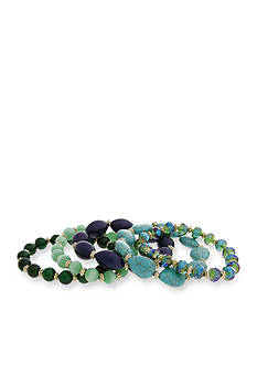 Erica Lyons Gold-Tone Mid Summer Night Green 5-Piece Stretch Bracelet