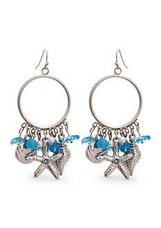 Erica Lyons Silver-Tone Sea Life Gypsy Hoop Earrings