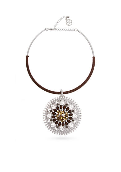 Erica Lyons Silver-Tone Put It In Neutral Choker Pendant Necklace