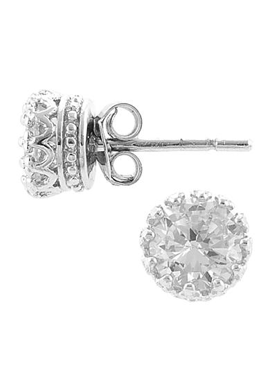 Belk Silverworks Sterling Silver and Cubic Zirconia Round Crown Set Stud Earring