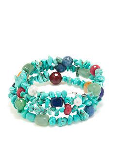 Belk Silverworks Fine Silver Plated Turquoise Wrap Bracelet