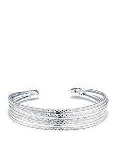 Belk Silverworks Fine Silver Plated Textured Cuff Bracelet