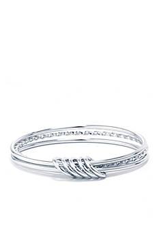 Belk Silverworks Fine Silver Plated High Polished And Twisted Triple Bangle Bracelet