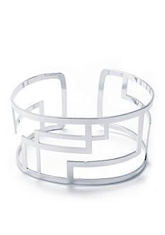 Belk Silverworks Fine Silver Plated Geometric Cut Out Cuff Bracelet