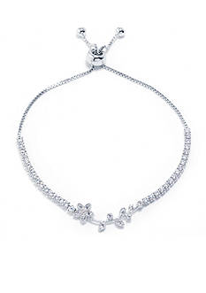 Belk Silverworks Fine Silver Plated Cubic Zirconia Flower Slider Adjustable Boxed Bracelet