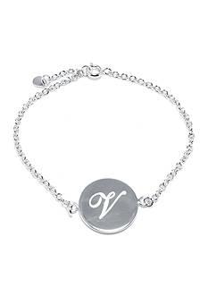 Belk Silverworks Fine Silver Plated V Initial Chain Bracelet