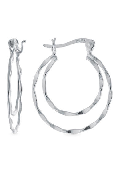 Belk Silverworks Round 25-mm. Double Twist Hoop Earring in Fine Silver Plate Boxed Set