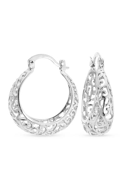 Belk Silverworks Fine Silver Plated Filigree Click Top Hoop Earrings