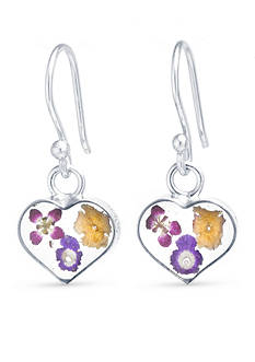 Belk Silverworks Boxed Fine Silver Plated Dried Flower Heart Drop Earrings