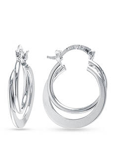 Belk Silverworks Silver Plated Double Crossover Hoop Earrings