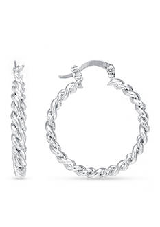 Belk Silverworks Fine Silver Plated Twisted Hoop Earrings